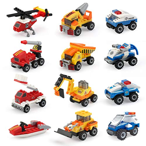 Mini Building Blocks Cars Toys Sets 12 Packs Assembly Mini Cars Toys for Boys Stem Building Car Assorted Construction Truck Fire Trucks Police Cars Party Favor Goodie Bags for Kids