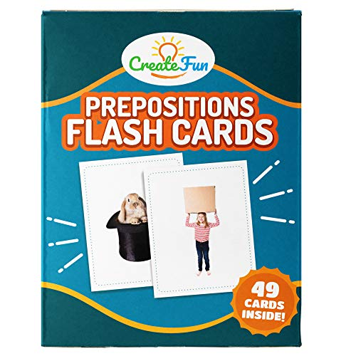 CreateFun Preposition Flash Cards - 49 Educational Photo Cards - 5 Learning Games, 7 Total Prepositions - for Parents, Teachers, Speech Therapy Materials and ESL Teaching Materials