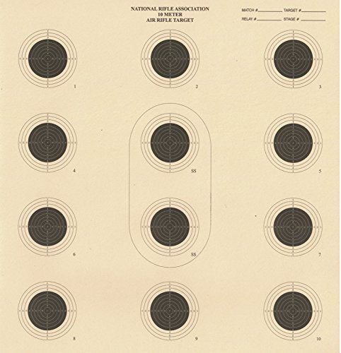 DOMAGRON 10 Meter 12 Bullseye Air Rifle Target Official NRA Target AR5/10 (100 Pack)