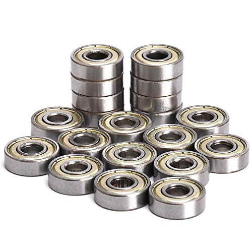 Skateboard 608zz Bearings, ABEC Double Shielded 8x22x7mm Deep Groove Ball Bearing, Precision, Quiet & Durable for 3D Printer RepRap Wheel, Longboard, Roller Skates, Inline Skates, Scooters - 20Pcs
