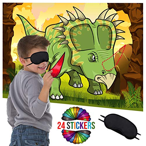 Dinosaur Party Supplies Birthday Decorations - Pin The Horn On The Dinosaur Game - Fun Activities Birthday Games for Kids Party - Dino Poster 24 Sticker Horns Blindfold Mask