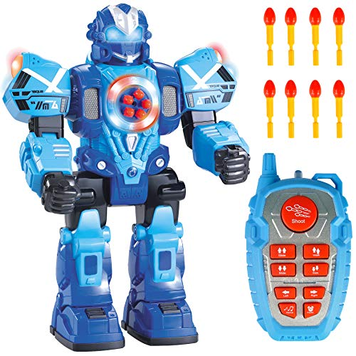 Liberty Imports Large 10 Channel Remote Control Robot Police Toy with Flashing Lights and Sounds - RC Action Robot Shoots Darts, Walks, Talks, and Dances (10 Functions)