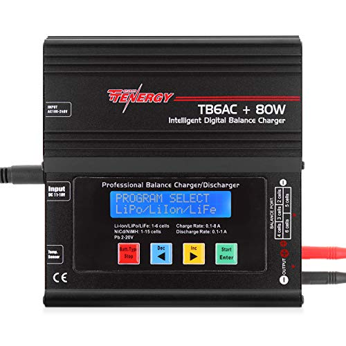 Tenergy TB6AC+80W Balance Charger Discharger, 1S-6S Intelligent�Digital Battery Pack Charger for NiMH/NiCd/Li-Po/Li-Fe Packs, LCD RC Battery Charger w/ Tamiya/JST/EC3/HiTec/Deans Connectors