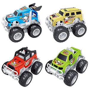 Liberty Imports Big Wheel 4x4 Friction Vehicles for Monster Trucks Stunt Stadium (4-Pack)