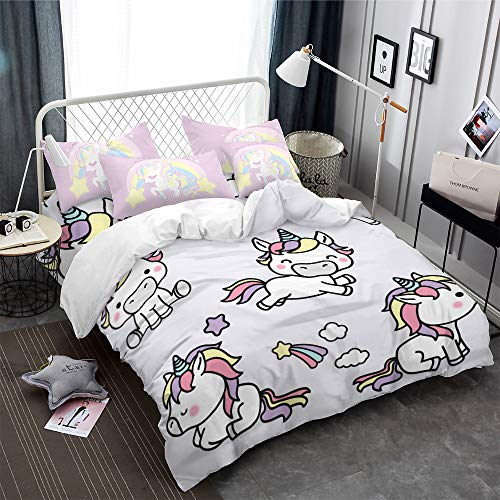 ARL HOME Unicorn Bedding 2PC Twin Size Duvet Cover Set Cartoon Rainbow Unicorn Girls Princess Gift Bed Set Cute Kids Bedding with 1 Unicorn Quilt Cover + 1 Pink Pillowcase