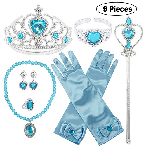 Princess Dress Up Party Accessories for Princess Costume Gloves Tiara Wand Necklace Earrings Bracelet and Ring Gift Set 9pcs (Blue, Set of 7, 9pcs)