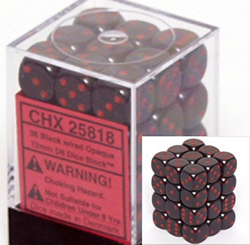Chessex Dice FBA_25818 Chessex Opaque 12mm d6 Black w/Red Dice Block 36 Dice, Black/Red