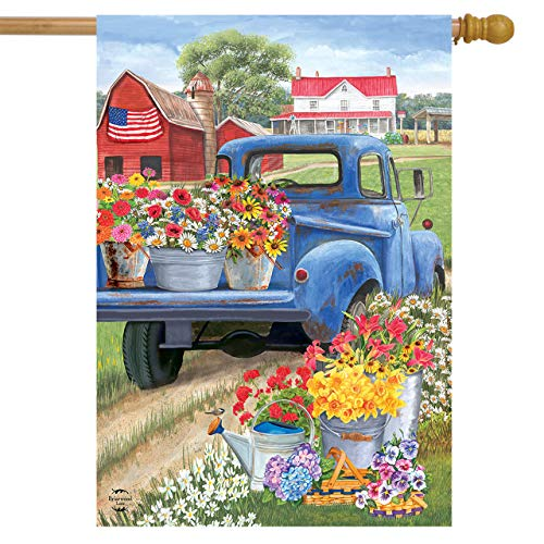 Briarwood Lane Day On The Farm Spring House Flag Pick-up Truck Floral 28