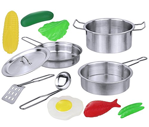 Click N' Play 12 Piece Mini Stainless Steel Pots and Pans Cookware Pretend Playset with Play Food