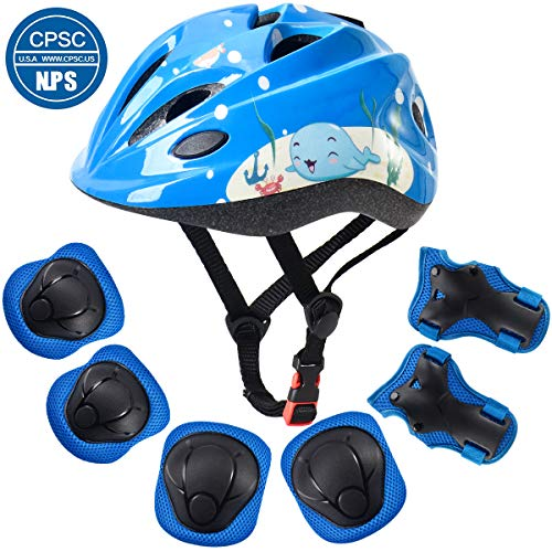 ArgoHome Kids Helmet Protective Gear Set Toddler Helmet Kids Knee Pads for 3-8 Years Toddler Youth Bike Skateboard Helmet Knee Elbow Wrist Pads for Roller Bicycle Bike Skateboard -Blue
