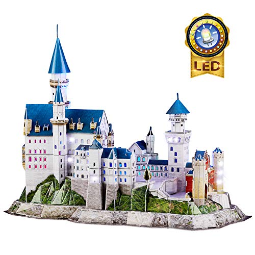CubicFun 3D LED Castle Puzzles for Adults and Kids, Germany Architectures Building Model Kits Toys Gifts for Women and Men, Multi-Color Lights Neuschwanstein Castle 128 Pieces