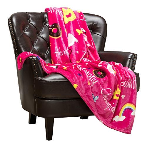 Chanasya Love Hug Play Dream Gift Throw Blanket - Representing Hope Joy Strength Happiness Adventure Fun Compassion Resilence Imagination for Kids Boy Girl Toddler Children Gift Blanket - Pink