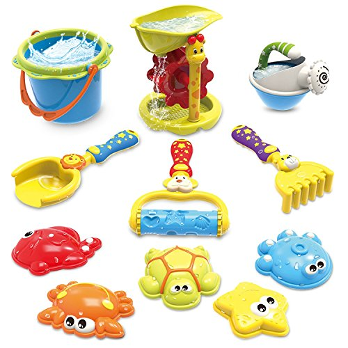GrowthPic 11 Piece Beach Toy Snow Toy Castle Mold Set for Kids with Water Sand Wheel, Watering Can, Bucket, Snow Shovel, Rake, Rolling Rake, Molds for Toddlers, Winter Outdoor Play Set