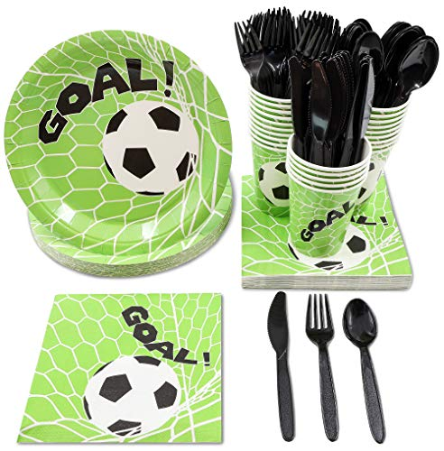 Juvale Soccer Party Supplies, Disposable Dinnerware Set (Serves 24, 144 Pieces)