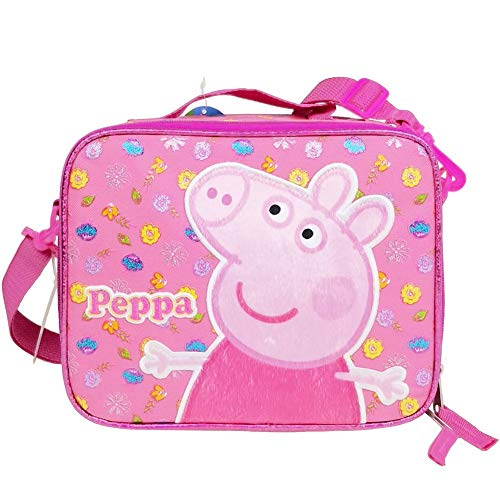 2017 New Arrive Peppa Pig Pink Insulated Lunch Bag 3D Popup Applique