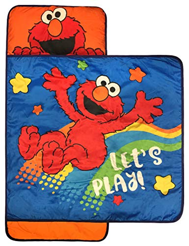 Jay Franco Sesame Street Lets Play Nap Mat - Built-in Pillow and Blanket Featuring Elmo - Super Soft Microfiber Kids'/Toddler/Children's Bedding, Ages 3-5 (Official Sesame Street Product)