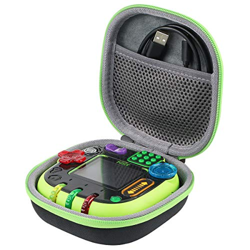 co2crea Hard Travel Case for Leapfrog Rockit Twist Handheld Learning Game (Black Case + Green Zipper)