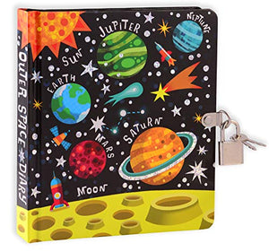 "MOLLYBEE KIDS Outer Space 6.25"" Lock and Key Diary for Boys and Girls, 208 Lined Pages"