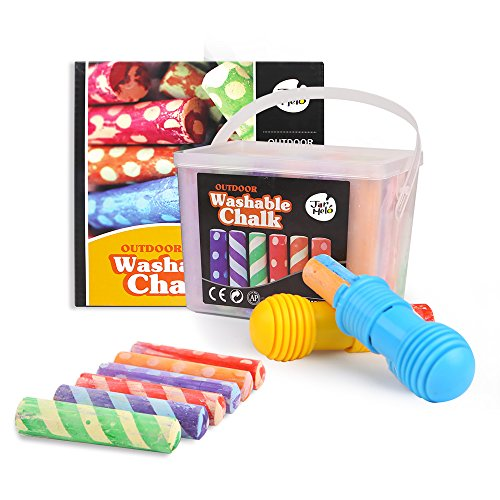 Jar Melo Washable Chalk- 24 Colors; Sidewalk Jumbo Crayon Chalk; Outdoor Fun;Dust Free; Dotted Chalk with Chalk Holder
