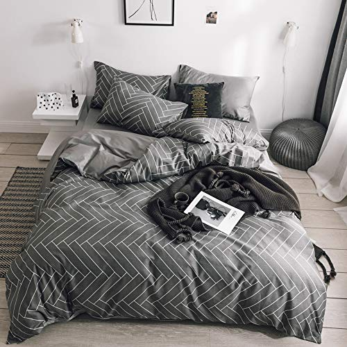3 Piece King Duvet Cover Set Grey Comforter Cover 100 Percent Natural Cotton Striped Bedding Sets King Geometric For Boys Men Lightweight Soft Duvet Cover Breathable and Comfortable (No Comforter)