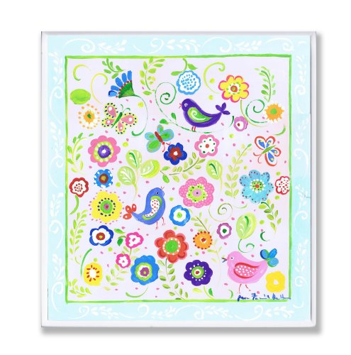 The Kids Room by Stupell Birds, Butterflies and Blossoms with Blue Border Rectangle Wall Plaque