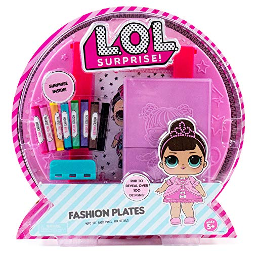 L.O.L. Surprise! Fashion Plates by Horizon Group USA,DIY Fashion Design Activity Kit, Make Over 100 Designs, 14 Fashion Plates, 20 Sheets of Paper, 1 Scratch Art Sheet, 7 Crayons Included