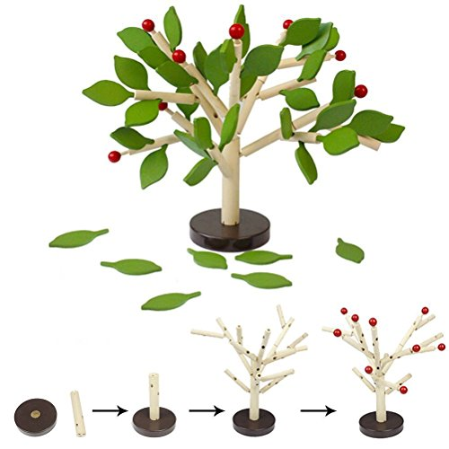 Agirlgle Creative Wood Building Blocks Tree Set for Kids Children Men Preschool Boys and Girls DIY Learning Educational 3D Wooden Assembled Toys Tile Game —Home Office Decor (Green Leaves)