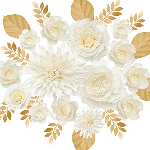 Ling's moment Giant Paper Flower Decorations for Wedding Party Backdrop Set of 14(16''- 6'' Assorted), Oversize Crepe Paper Peony Dahlia Wall Art for Nursery, Wedding Backdrop, Bridal Shower-Cream