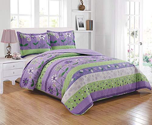 Linen Plus Bedspread Set for Girls/Teens Flowers Lavender Green Purple New (Twin)