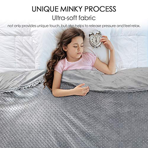 Anjee 5lbs Weighted Blankets for Kids with Soft Cotton Fabric, Heavy Blanket with Removable Minky Cover Help Relax and Better Sleep, Cotton/Minky, Grey, 36 x 48 Inches