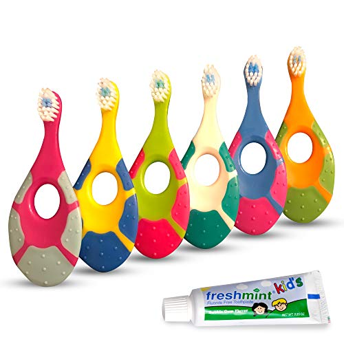 Baby Toothbrush for Infants & Toddlers 0-2 Years Old (6 Pack) | Bonus Fluoride Free Toothpaste | Teething Handle Extra Soft Bristles | BPA Free