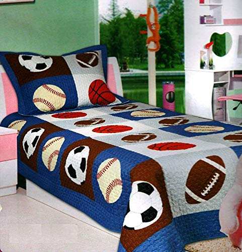 Elegant Home Multicolor Sports Soccer Basketball Baseball Football Design 2 Piece Coverlet Bedspread Quilt for Kids Teens Boys # 18-07 (Twin Size)