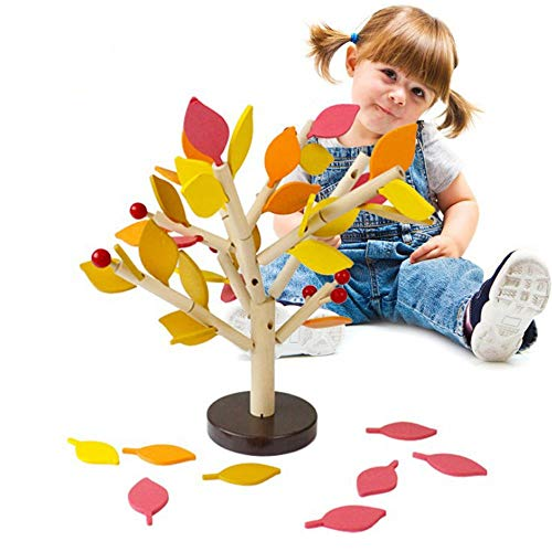 Agirlgle Creative Wood Building Blocks Tree Set for Kids Children Men Preschool Boys and Girls DIY Learning Educational 3D Wooden Assembled Toys Tile Game —Home Office Decor (Four Colors Leaves)