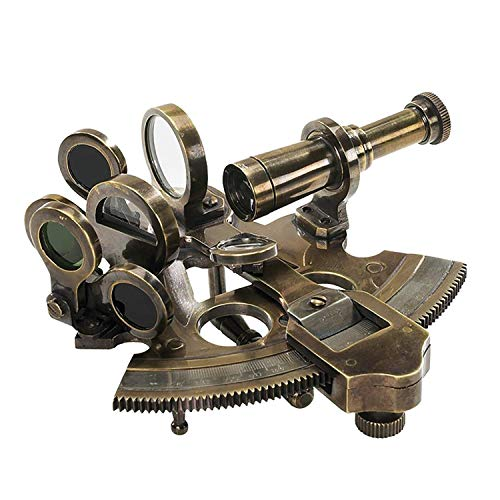 Authentic Models, Pocket Sextant with Mini Tripod, Vintage-Inspired Telescope - Bronze Finish