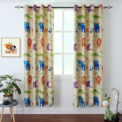 BGment Kids Blackout Curtains - Grommet Thermal Insulated Room Darkening Printed Animal Zoo Patterns Nursery and Kids Bedroom Curtains, Set of 2 Curtain Panels (52 x 84 Inch, Beige Zoo)