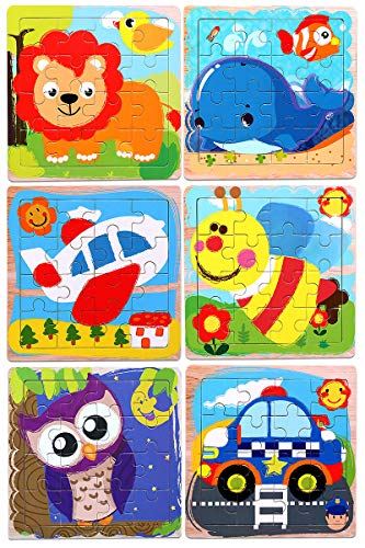 Puzzles for Kids for Ages 3-5, 16 Piece Wooden Jigsaw Puzzles for Toddler Children Learning Educational Toddler Puzzle Toys for Boys and Girls, 6 Pack Preschool Children Puzzles Set