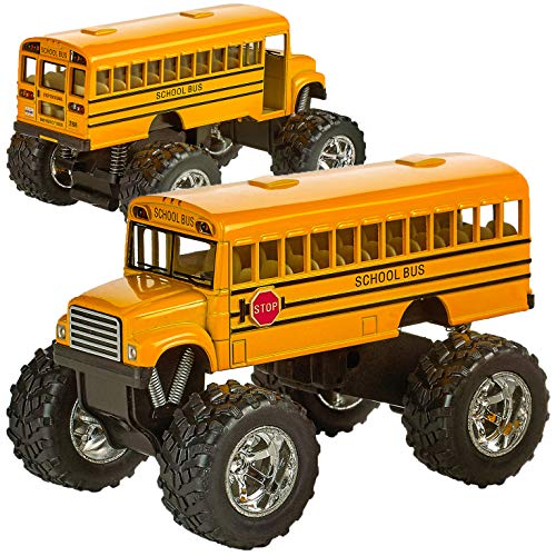 Bedwina Die Cast Yellow School Bus - 2 Pack Set Monster Truck School Bus, Pull Back Car Toys, Play Vehicles and Gifts for Toddlers, Kids That Makes for Great Party Favors, Stocking Stuffers