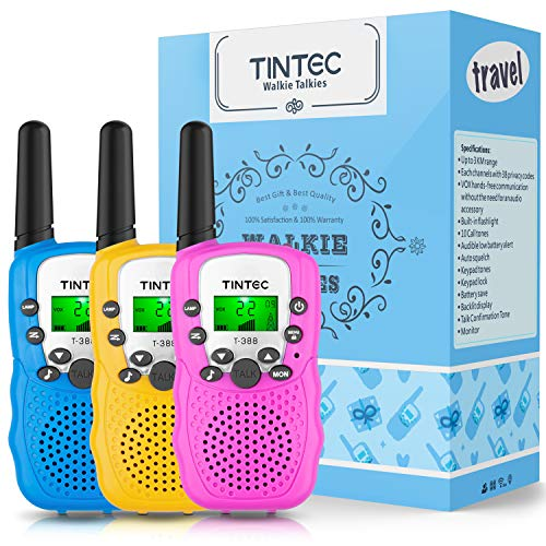 Tintec 3 Pack Walkie Talkies Gift Box, 22 Channels 2 Way Radio Toy with Backlit LCD Flashlight, 3 Miles Range for Kids, Outdoor Adventures, Camping, Hiking