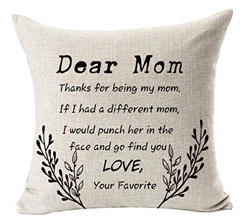 Andreannie Best Gifts for Mom Thanks for Being My Mom Cotton Linen Throw Pillow Case Cushion Cover Home Office Decorative Square 18 X 18 Inches
