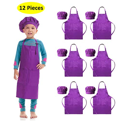 Hi loyaya 6 Pack Adjustable Children Chef Apron Set for Cooking Baking Painting Art Kids Chef Hat and Apron with 2 Pockets (Purple, M)