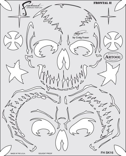 Artool Freehand Airbrush Templates, Ret Of Skullmaster Frontal