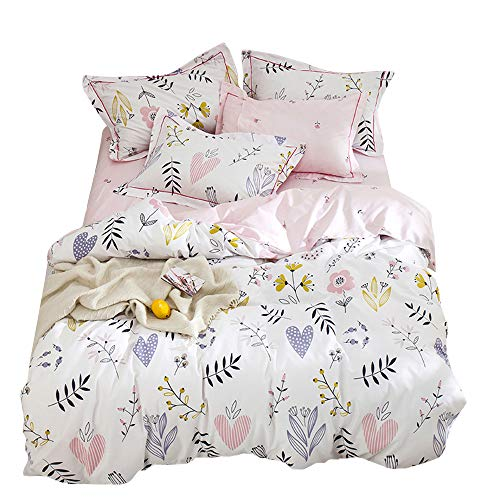 HIGHBUY Girls Duvet Cover Twin Floral Bedding Sets White Pink Premium Cotton Teens Flower Bedding Sets Twin Kids Reversible Comforter Cover Soft Branches Bedding Collection Twin Pink