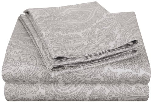 Cotton Blend 600 Thread Count, Deep Pocket, Soft, Wrinkle Resistant 4-Piece Full Bed Sheet Set, Paisley, Grey