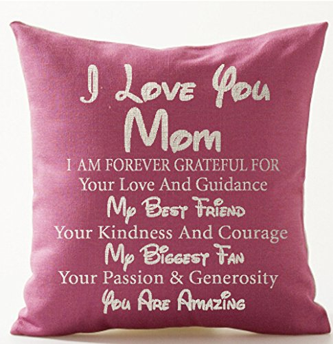 Andreannie Best Gift for Mother I Love You Mom My Best Friend My Biggest Fan You are Amazing Pink Cotton Linen Throw Pillow Case Cushion Cover Home Office Decorative Square 18 X 18 Inches