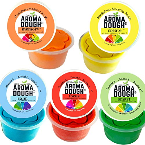 Aroma Dough School Scents Aromatherapy Dough - Non-Toxic, Soy-Free, Gluten Free Play Dough - Sensory Play Dough 5 Pack