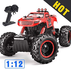 Remote Control Trucks Monster RC Car 1: 12 Scale Off Road Vehicle 2.4Ghz Radio Remote Control Car 4WD High Speed Racing All Terrain Climbing Car Toys Car Gift for Boys 茂录聢Red茂录聣