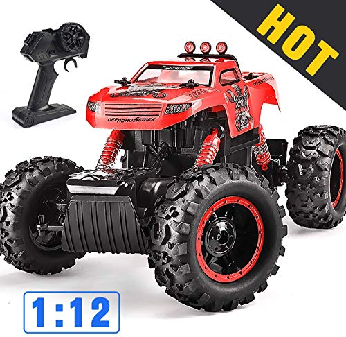 Remote Control Trucks Monster RC Car 1: 12 Scale Off Road Vehicle 2.4Ghz Radio Remote Control Car 4WD High Speed Racing All Terrain Climbing Car Toys Car Gift for Boys (Red)