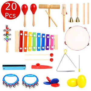 Ohuhu Music Instruments for Kids Music Toys 20 Pcs, Kids Percussion Musical Instrument Set with Tambourine & Xylophone, Storage Backpack Included, CPSC Approved