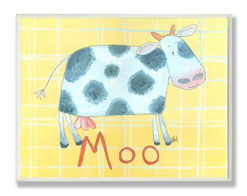 The Kids Room by Stupell Moo Cow on Yellow Plaid Backgrouund Rectangle Wall Plaque
