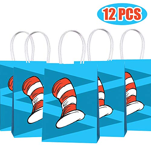 Happy Storm Cat's Hat Goodie Bags Cat Knows A Lot About That Birthday Party Supplies Favor Paper Gift Bags Goods Filling with Candies Toys Goods for Kids Baby Shower Party Decorations (12 Packs)